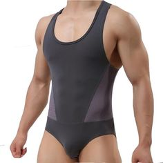 Brave Person Male sexy Underwear Tank Top Men's Bodysuits man Breathable Body Building One-piece garment Men Singlet One Piece Top, One Piece Suit, Men's Underwear, Mens Leotard, Tight Suit, One Piece Clothing, Pullover Shirt, Body Building Men, Fashion Clothes