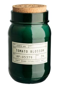 Doftljus i glasburk - Mörkgrön/Tomato blossom - Home All Candle Packaging, Candle Labels, Jar Labels, Bottle Packaging, Candle Jars, Candle Branding, Candle Holders, Scented Wax, Scented Candles