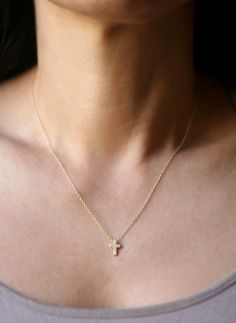 tiny cross necklace by etsy seller michellechangjewelry