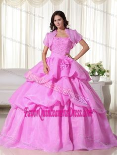 Cheap Hot Pink Strapless Hand Flowers Quinceanera Gowns in Organza