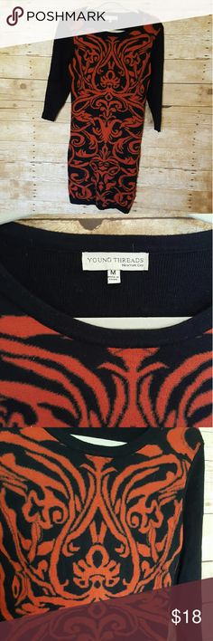 Young Threads NYC Black and burnt orange sweater dress. Good condition with no snags or pulling. Young Thread NYC Dresses Long Sleeve