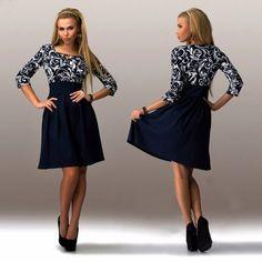New Fashion Lady Women's Casual Irregular Collar 3/4 Sleeve Print High Waist A-line Dress