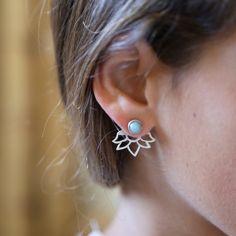 Silver ear jacket Turquoise earrings Gemstone ear by Toshjewelry