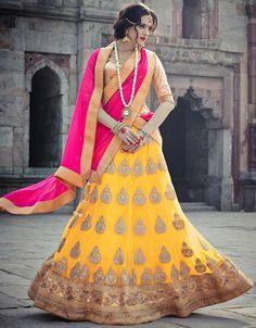 USD 174.09 Yellow Net Wedding Lehenga Choli 44110