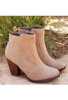 Roberta Booties - Taupe from Shop Priceless. Saved to Random Stuff I'd ❤️ 2 Hve . #booties #mine.