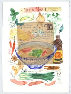Vietnamese PHO BO recipe Original watercolor by  Luciles Kitchen
