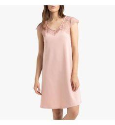 Dames 100 /% coton à pois chemise de nuit col rond à manches courtes taches Nighty
