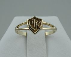 Vintage 14k Yellow Gold Split Band CTR Shield by rubylanejewelers, $195.00