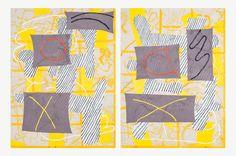 "TB001-YellowWindows <p class=""p1"">Trudy Benson<br /><em>Yellow Windows<br /></em>2014<br />Acrylic, enamel and oil on canvas<br />In 2 parts: 86 x 60 inches each<br />Inv# TB001</p>"