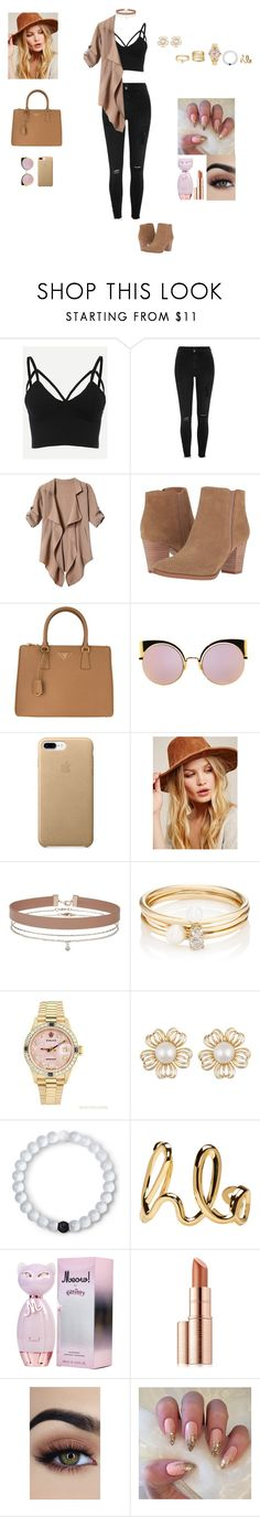 """BROWN."" by frii-skylar-garrix ❤ liked on Polyvore featuring River Island, Franco Sarto, Prada, Fendi, Free People, Miss Selfridge, Loren Stewart, Rolex, Lokai and Chloé"