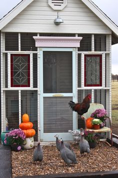 "Love this coop! the moulding above the door ~ the screen door ~ the ""sun room"" area ~stained glass inserts ~ vents"