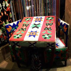 African beaded chair and table set