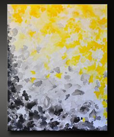 Abstract Acrylic Painting - Contemporary Wall Art - Yellow and Gray