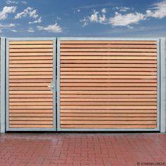 Einfahrtstor 300 x 180cm 2 Flügel Asymmetrisch Verzinkt + Holz Tor Gartentor NEU in Garten & Terrasse, Gartenzäune & Sichtschutzwände, Gartentore | eBay!