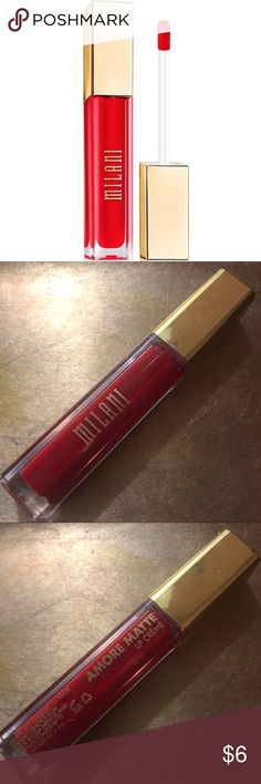 BNWT Milani Amore Matte Lip Creme Liquid Lipstick Brand New Milani Amore Matte Lip Creme Liquid Lipstick in the shade '22 - Amore' ... only ever swatched!   Shade Description: Bright Blue-Toned Red  Open to offers and trades :)  P.S. Check out my closet for lots and LOTS of other shades! Milani Makeup Lipstick