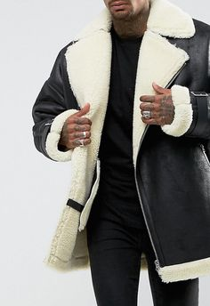 ASOS Oversized Faux Shearling Biker Jacket in Black from ASOS (men, style, fashion, clothing, shopping, recommendations, stylish, menswear, male, streetstyle, inspo, outfit, fall, winter, spring, summer, personal)
