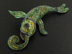 Margot de Taxco Silver Green Enamel Articulated Fish Brooch