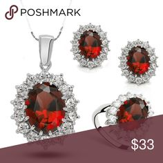 Stunning Ruby Rhinestone Jewelry Set Silver-Plated Necklace, Earrinhs, Size 7 Ring Jewelry