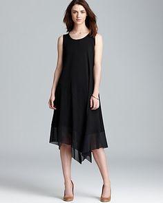 Eileen Fisher Scoop Neck Asymmetric Hem Dress