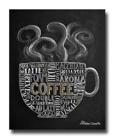 Coffee Art, Coffee Kitchen Art, Chalkboard Sign, Chalk Art, Kitchen Chalkboard…