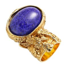 Saint Laurent YSL Arty Ovale Oval Large Lapis Ring Gold Size  6 196994 1cae218d5386a