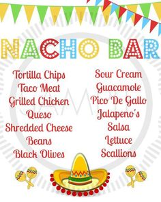 Fiesta / Taco / Cinco De Mayo / Taco Bar / by MyPrettyPartyShoppe - Shopkins Party Ideas Nacho Bar Party, Taco Party, Snacks Für Party, Party Hats, Nachos, Grad Parties, Birthday Parties, 2nd Birthday, Birthday Ideas