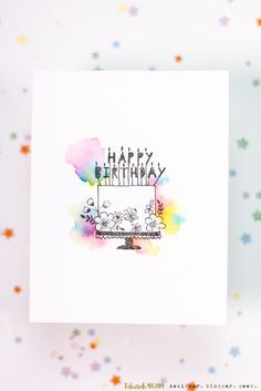 Sieben Hügel-Handwerks-Blog: Aquarell-Wolken-Geburtstags-Kuchen-Karte, #aquarell #geburtstags #handwerks #hugel #kuchen #sieben #wolken