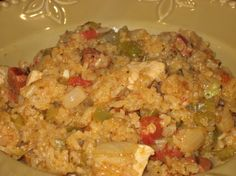 This is a fantastic jambalaya recipe from the Chile Pepper magazine in Jan. 2003.  It is different than most because it does not have tomatoes.  It is so full of flavor and wonderful.