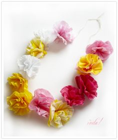 Super easy, fun project that could be used for lei's or could be really cute as garland.