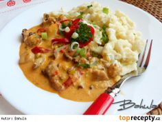 kureci ragu na paprice * Stew, Risotto, Mashed Potatoes, Macaroni And Cheese, Menu, Treats, Chicken, Cooking, Ethnic Recipes