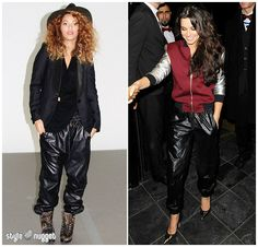 Who Wore It Better? Vince Black Leather Jogging Pants