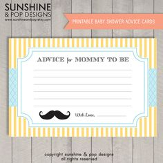 INSTANT DOWNLOAD - Printable Little Man Mustache Baby Shower Advice Cards - Moustache Ready to print - baby boy shower. $5.99, via Etsy.