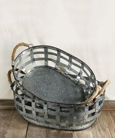 I can see this filled with seaweed and lobsters.....Loving this Rope Handle Galvanized Metal Basket Set on #zulily! #zulilyfinds