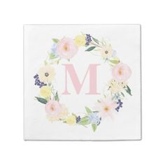 Browse these home decor gifts with a Spring Wedding theme:   Spring Floral Wreath Monogram Wedding Napkins - click/tap to see the slideshow for related designs