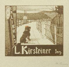 Martha Cunz (1876-1961)  -  Ex Libris L. Kürsteiner Jng..Lithographie