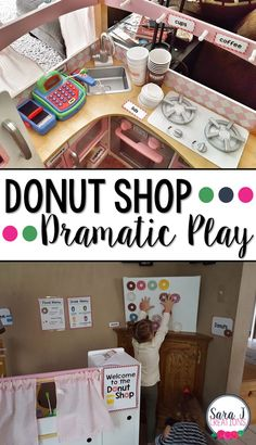Donut and coffee shop dramatic play area is so cute for preschool! Dramatic Play Themes, Dramatic Play Area, Dramatic Play Centers, Preschool Dramatic Play, Literacy Activities, Preschool Activities, Indoor Activities, Summer Activities, Family Activities