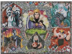 Counted Cross Stitch Pattern, Disney, Villains, Maleficent, Queen of Hearts, Paper Pattern or Complete Kit by dueamici on Etsy https://www.etsy.com/listing/204926386/counted-cross-stitch-pattern-disney