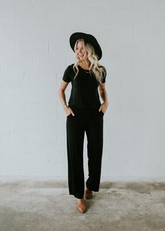 Black Jumpsuit with Drawstring Waist and Pockets   ROOLEE