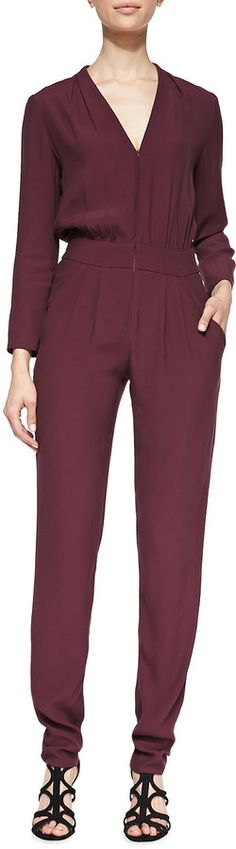 $103, Burgundy Jumpsuit: Twelfth St. By Cynthia Vincent 12th Street By Cynthia Vincent Long Sleeve Pleated Zip Front Jumpsuit. Sold by Neiman Marcus. Click for more info: https://lookastic.com/women/shop_items/109075/redirect