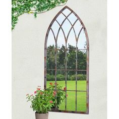 Sunjoy Cathedral Windowpane Style Garden Mirror Made of Metal with Antique Finish, 45 Inches, Multi (Iron), Outdoor Décor Cathedral Mirror, Cathedral Windows, Window Pane Mirror, Fachada Colonial, Outdoor Mirror, Garden Mirrors, Metal Mirror, Wall Mirror, Foyer Mirror