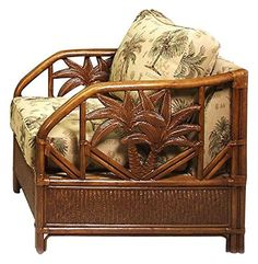 Upholstered Rattan & Wicker Lounge Chair in & Cushions (Patriot Birch). Fabric: Patriot Birch. This product is warranted for indoor use. Made of Rattan Poles and Woven Wicker. Traditional indoor upholstered rattan & wicker lounge chair. Includes cushions with choice of fabric in a variety of colors and patterns.