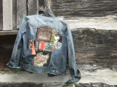 Upcycled Denim Jacket,  Vintage Fabric, Kimono Scraps, Repurposed Denim, OOAK…