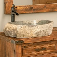 River Rock Stone Sink and Faucet