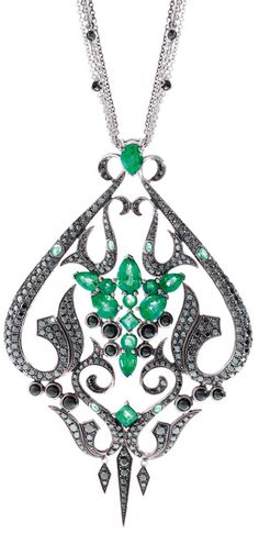 Gemfields' Stephen Webster pendant with 5.4ct of emeralds, diamonds and onyx in white gold.     Via The Jewellery Editor.