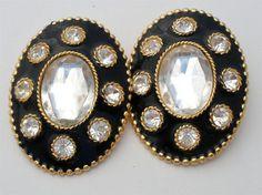 Signed Ellen Designs Huge Black Enamel Clear Rhinestone Estate Earrings Vintage | eBay