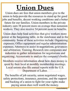 We all pay dues, to our union or to our employer in lower wages.