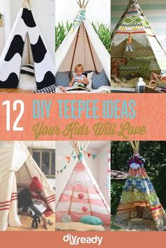 12 Fun DIY Teepee Ideas for Kids , see more at: https://diyprojects.com/fun-and-exciting-diy-teepee-ideas-for-kids/