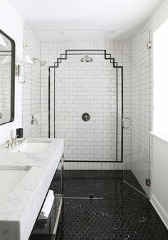 7 shower tile ideas that will drastically change the look of your bathroom Art Deco Bathroom, Bathroom Colors, Bathroom Sets, White Bathroom, Bathroom Interior, Small Bathroom, Classic Bathroom, Neutral Bathroom, Bathroom Vanities