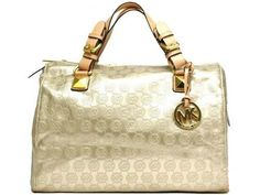 MICHAEL Michael Kors Grayson Medium Monogram Satchel Beige