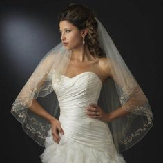 New Two Layer Ivory Fingertip Wedding Bridal Veil with Gold Embroidery